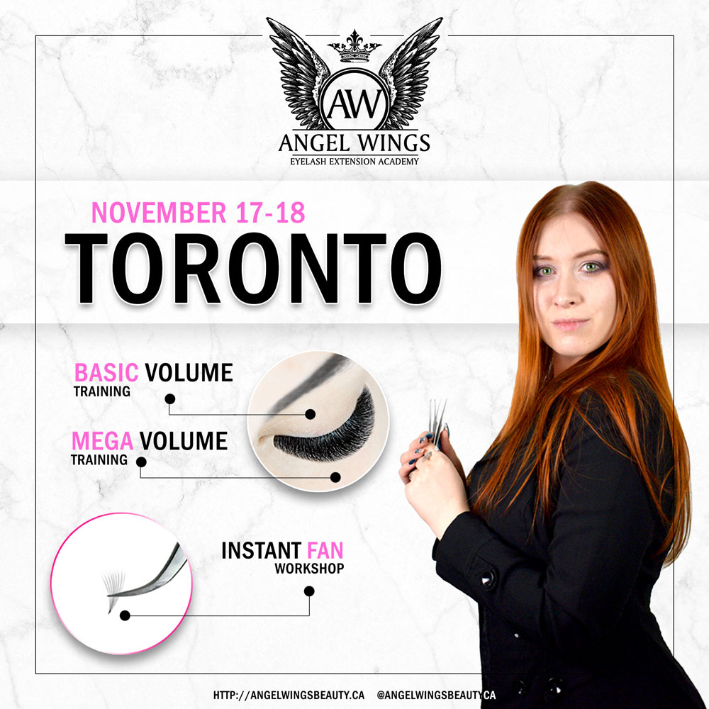 Angel Wings Mega volume eyelash extension training toronto perfect fan in one second